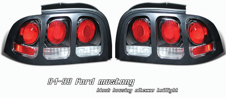 94-98 Mustang Taillights Gen 2 Style - Black Housing w/Black Bezel (Pair)