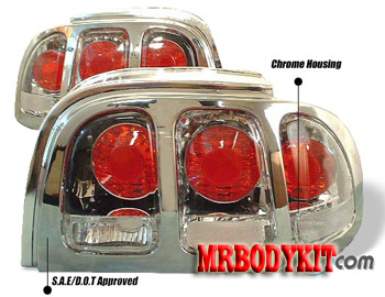 94-98 Mustang Taillights Gen 2 Style - Chrome Housing w/Chrome Bezel (Pair)