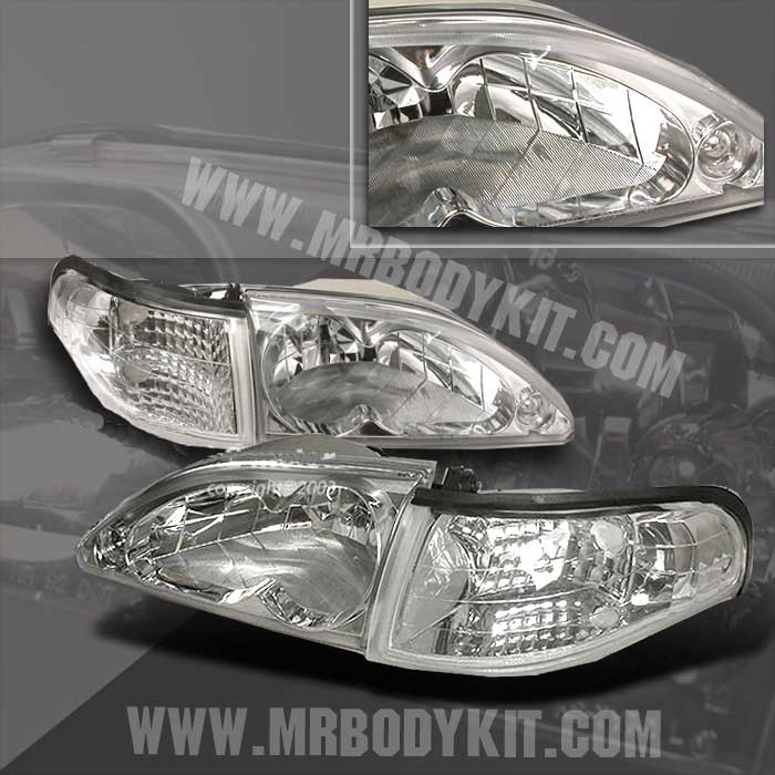 94-98 Mustang Headlights 4 PC - Gen 2 Style w/Corners NO Amber - CHROME (Pair)