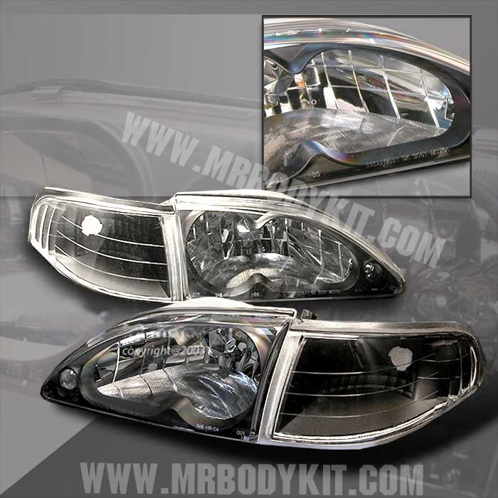 94-98 Mustang Headlights 4 PC - Gen 2 Style w/Corners NO Amber - BLACK (Pair)