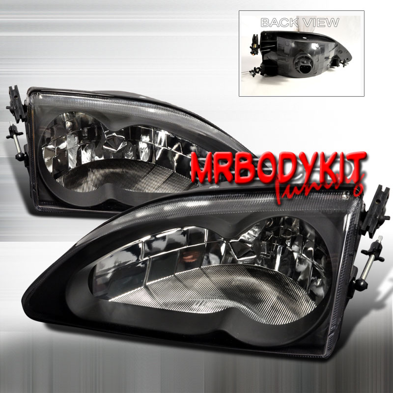 94-98 Mustang Headlights 2 PC - Gen 2 Style - BLACK (Pair)