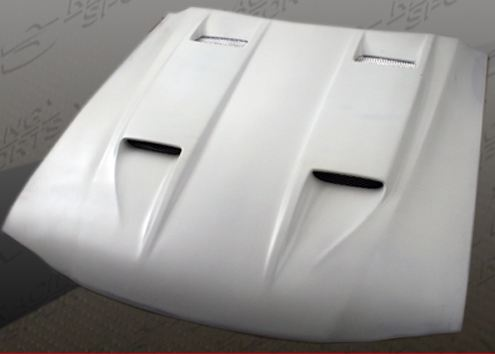 94-98 Mustang Mach 5 STYLE Hood 4 Scoop Style (Fiberglass) (2 INCH RISE)