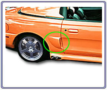 94-98 Mustang Round Quarter Panel Side Scoops (2 pc)