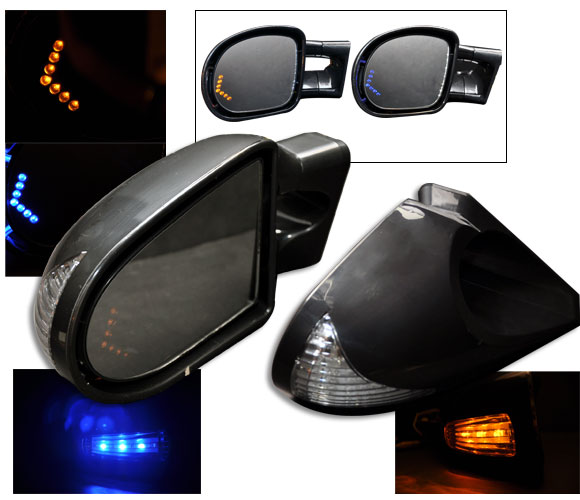 1994-1998 LED Turn Signal Power Mirrors Gen 2 - Black Finish (Blue or Amber) w/ Mirror Turn Signal - CLEAR LENS