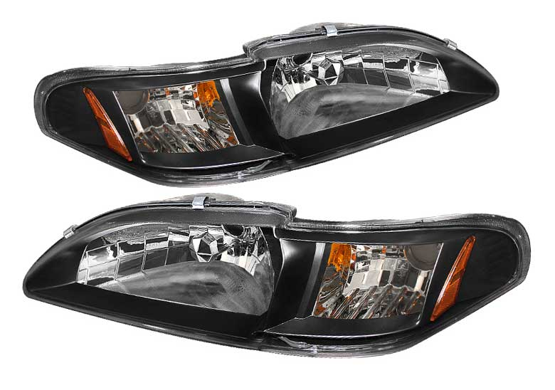 94-98 Mustang Headlights 1 PC - BLACK Lens Style 020B (Pair)