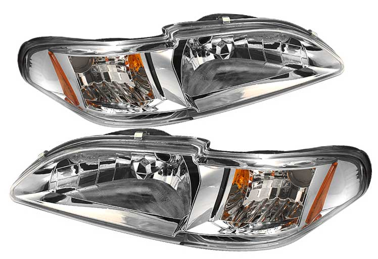 94-98 Mustang Headlights 1 PC - CHROME Lens Style 020C (Pair)