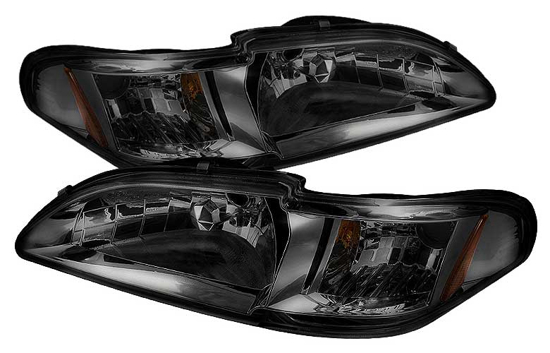 1994-1998 COMBO Mustang Headlights 1 PC - SMOKED (Pair) & Taillights Gen 3 Style - Bermuda Black (Pair)