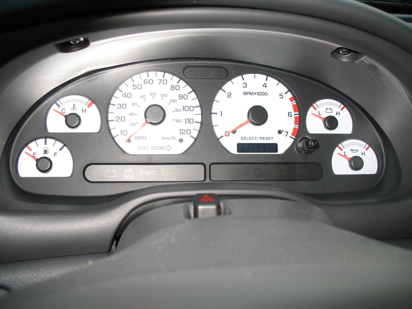 1994 1995 Mustang 3 8l White Face Gauge Kit W 120mph Sdo Larger Image