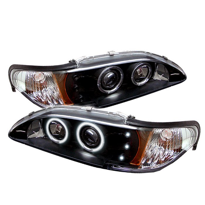 94-98 Mustang Headlights 1PC - Angle Eye Dual Halo CCFL - LED Projector BLACK Style 005CCFL (Pair)