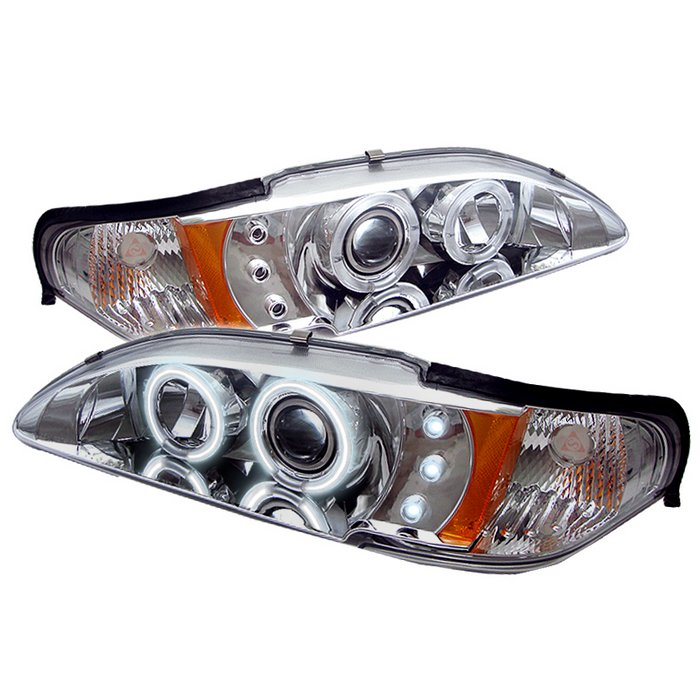 94-98 Mustang Headlights 1PC - Angle Eye Dual Halo CCFL - LED Projector CHROME Style 005CCFL (Pair)