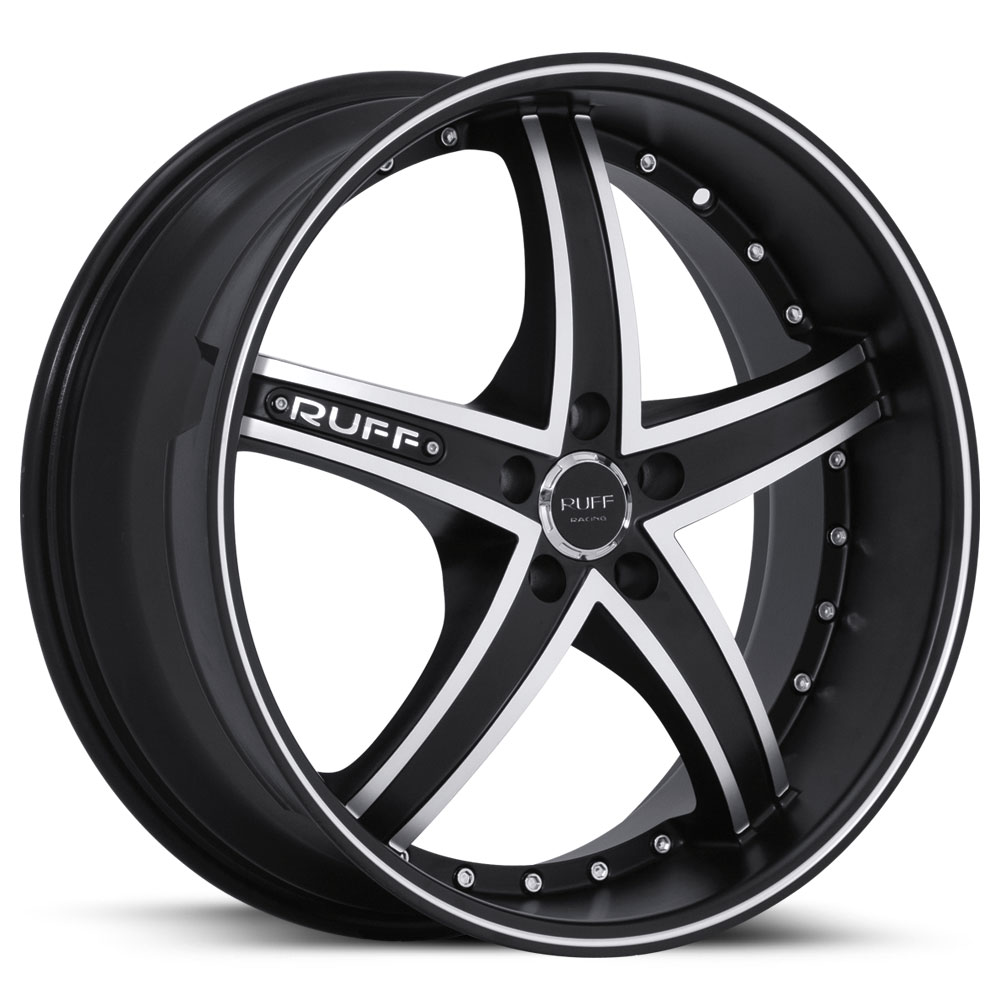 20 INCH Ruff Racing BLACK V1 Rims R953 - 5 Lug 94-04 (sizes available 20x8.5, 20x10 & Staggered) - Package price for (4)