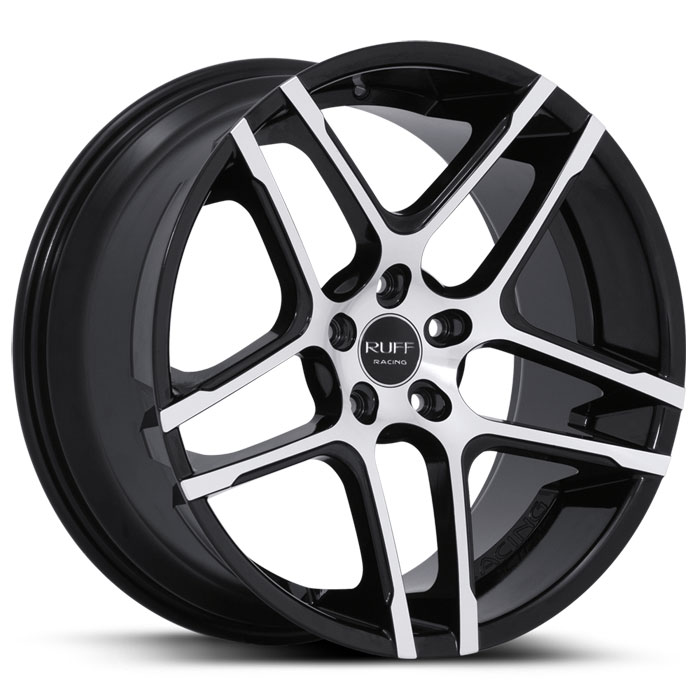 20 INCH Ruff Racing GLOSS BLACK Rims R954 - 5 Lug 94-04 (sizes available 20x8.5, 20x10 & Staggered) - Package price (4)