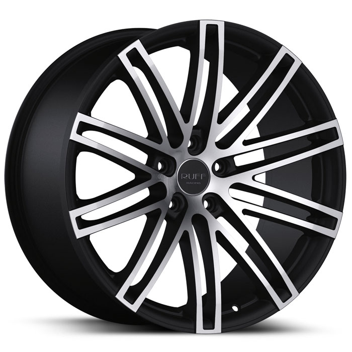 20 INCH Ruff Racing GLOSS BLACK Rims R955 - 5 Lug 05-13 (sizes available 20x8.5, 20x10 & Staggered) - Package price (4)