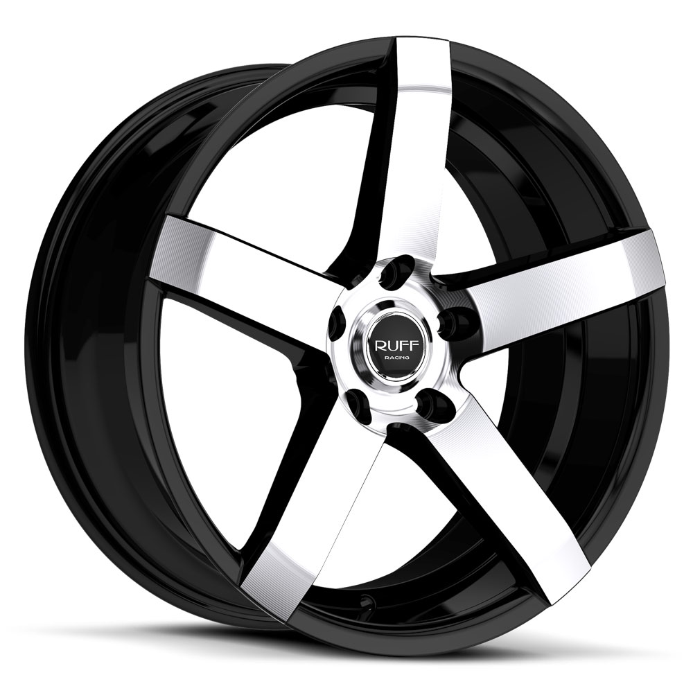 20 INCH Ruff Racing R956 Machine Face w/Black - 5 Lug 05-17 (sizes available 20x8.5) - Package for (4)