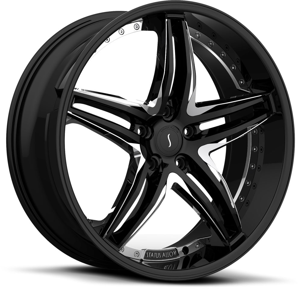 20 INCH Status S837 BLACK w/CHROME - 5 Lug 05-17 (sizes available 20x8.5) - Package for (4)