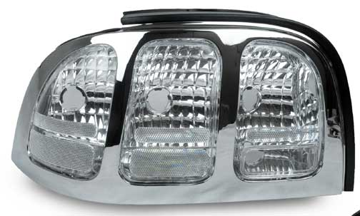 94-98 Mustang Taillights Gen 2 Style - Chrome Housing CLEAR LENS w/Chrome Bezel (Pair)