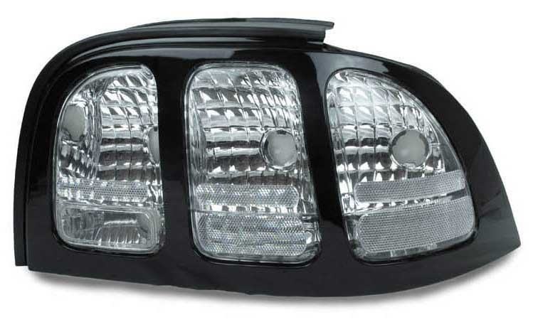 94-98 Mustang Taillights Gen 2 Style - Chrome Housing CLEAR LENS w/PAINTABLE Bezel (Pair)