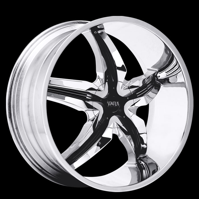 20 INCH Status Dystany Chome w/Black S822 - 5 Lug 05-13 (sizes available 20x8.5) - Package for (4)