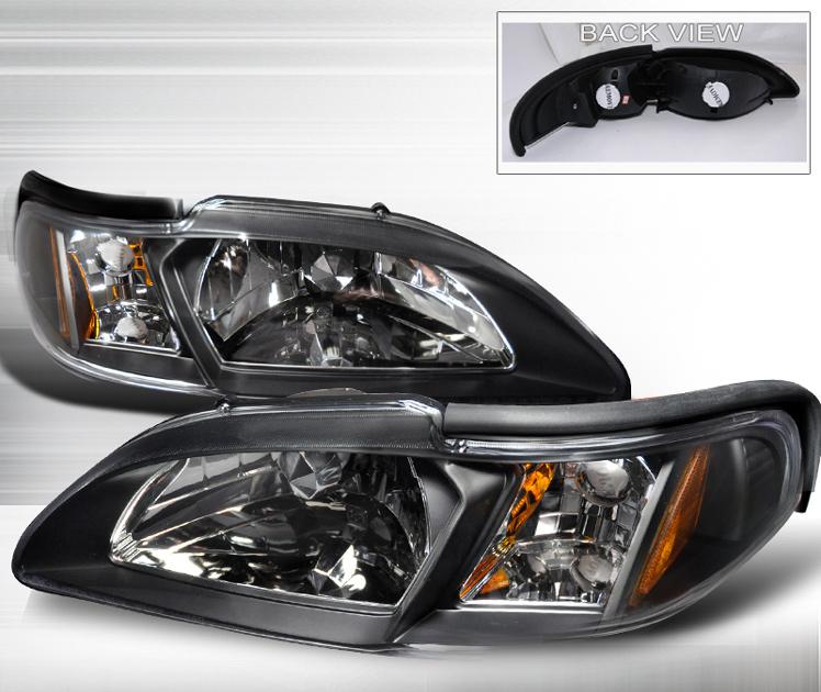94 98 Mustang Headlights 1pc Euro Stream Line Black Style 014 Pair