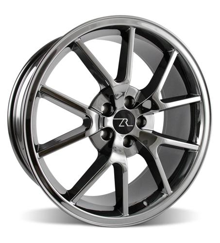 "20x8.5 & 20x10"" Mustang FR500 05-17 GT/V6/GT500 Big Brake, Set of 4 PACKAGE - BLACK CHROME"