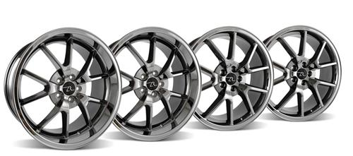 "20x8.5 & 20x10"" Mustang FR500 05-14 GT/V6/GT500 Big Brake, Set of 4 PACKAGE - BLACK CHROME"