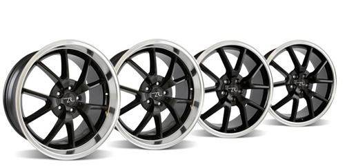 "20x8.5 & 20x10"" Mustang FR500 05-17 GT/V6/GT500 Big Brake, Set of 4 PACKAGE - BLACK w/ Mirror Lip"