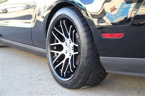 "Staggered 20"" Mustang ZR Downforce Concave 05-17 GT/V6/GT500 Big Brake, Set of 4 PACKAGE - Matte Black w/ Machined Face"