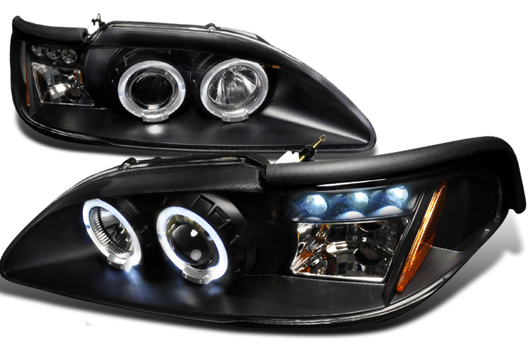 94-98 Mustang Headlights 1PC - Angle Eye Dual Halo LED Projector BLACK Style 011 (Pair) (H.I.D Compatible)