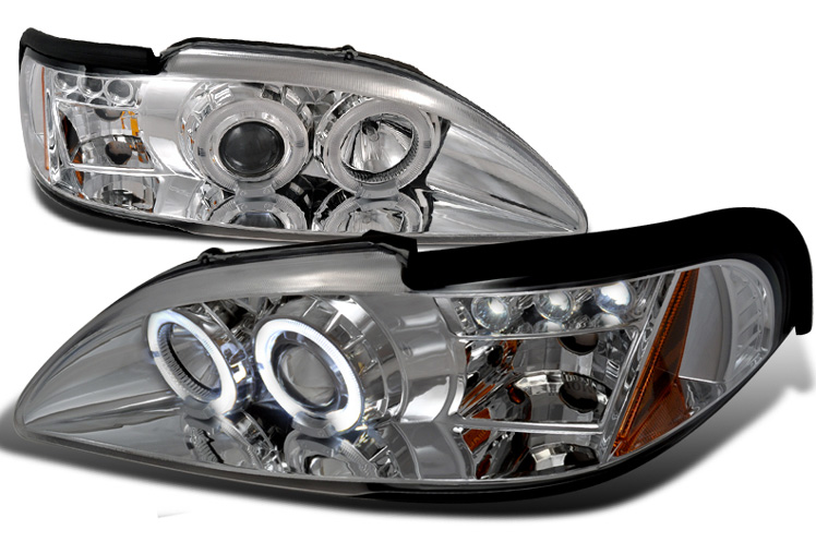 94-98 Mustang Headlights 1PC - Angle Eye Dual Halo LED Projector CHROME Style 012 (Pair) (H.I.D Compatible)