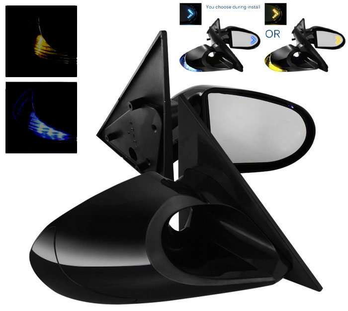 1999-2004 LED Turn Signal Power Mirrors Gen 3 - Black Finish (Blue or Amber) w/ Mirror Turn Signal - SMOKED LENS