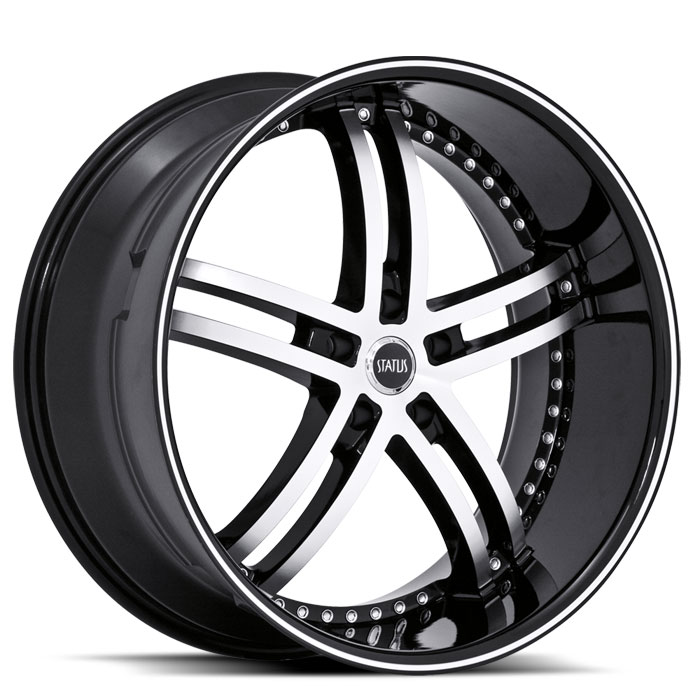 20 INCH Status Knight-5 BLACK Rims S816 - 5 Lug 05-13 (sizes available 20x8.5, 20x10 & Staggered) - Package for (4)