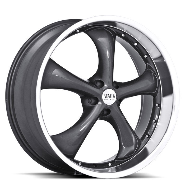 20 INCH Status Retro CHARCOAL Rims S818 - 5 Lug 94-04 (sizes available 20x8.5, 20x10 & Staggered) - Package for (4)