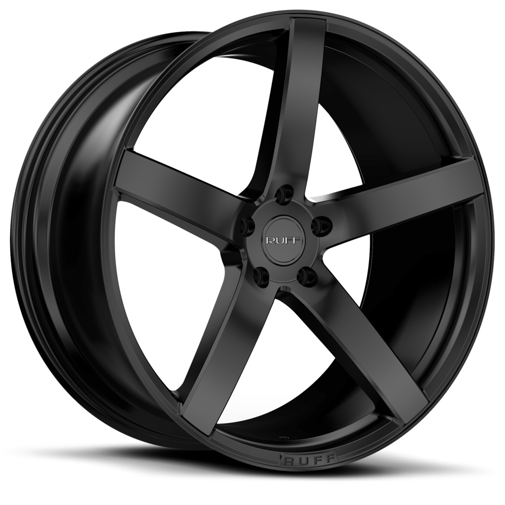 20 INCH Ruff Racing R1 Satin Black Rims 5 Lug 94-04 (sizes available 20x8.5, 20x10 & Staggered) - Package price for (4)