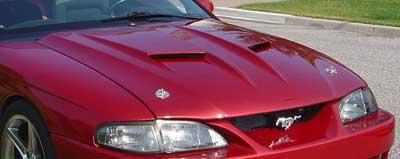 94 98 Mustang Stalker 2 Ram Air Hood Fiberglass 1 5 Inch Rise