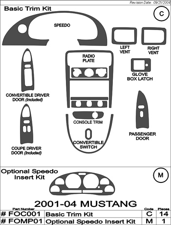 2001-2004 Mustang 15pc Interior Dash Trim Kit with Optional Speedo