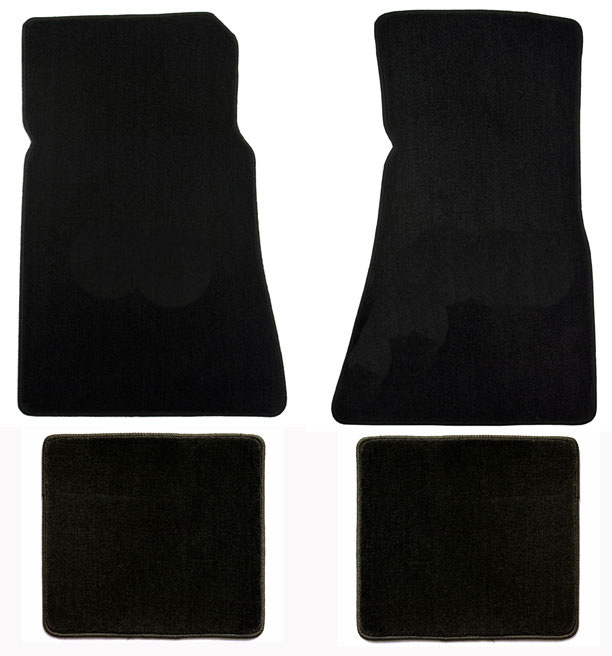 1979-1993 Mustang Coupe + Convertible Floor Mats - Black - No Emblem