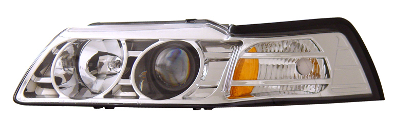 99-04 Mustang Headlights PROJECTOR GEN 1 - CHROME (Pair)