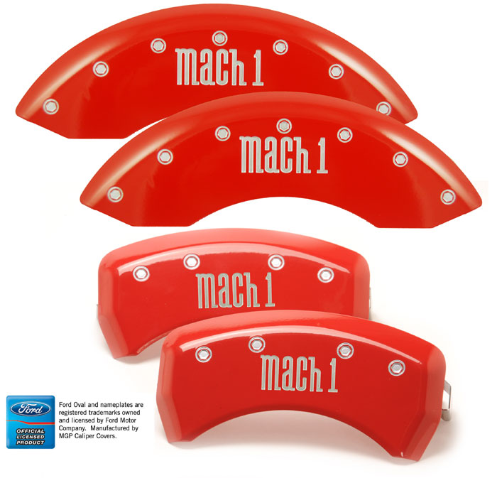 2003-2004 Mustang MACH 1 Caliper Cover (Set of 4) - RED - MACH 1 Logo