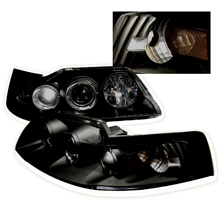 99-04 Mustang Headlights PROJECTOR Dual Angle Eyes Twin L.E.D Halo GEN 2 - Black Housing w/SMOKED LENS & LED(Pair)