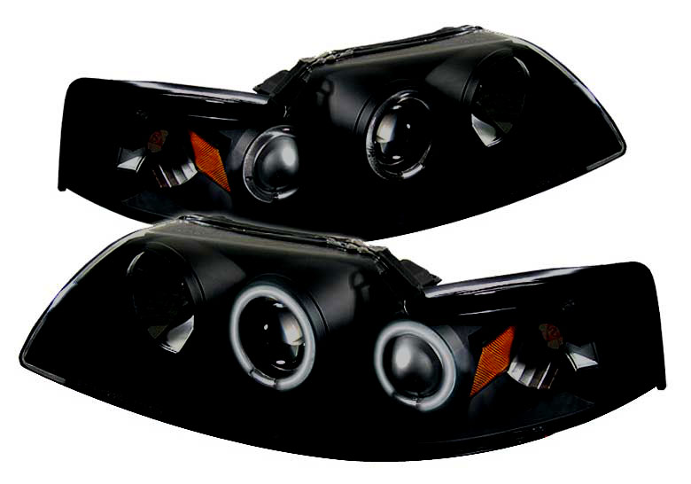 99-04 Mustang Headlights PROJECTOR Dual Angle Eyes Twin CCFL Halo GEN 2 - Black Housing w/SMOKED LENS & CCFL(Pair)