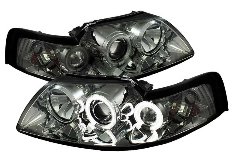 99-04 Mustang Headlights PROJECTOR Dual Angle Eyes Twin CCFL Halo GEN 2 - Chrome Housing w/SMOKED LENS & CCFL(Pair)