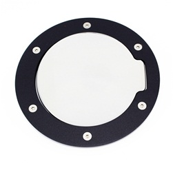 1994-2004 Mustang Replacement Fuel Door - Flat Black Ring and Chrome Door