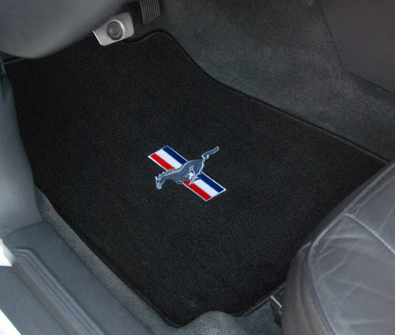 1994-2004 Mustang 94-04 Coupe / 99-04 Convertible Floor Mats - Black (6 Emblem Options)
