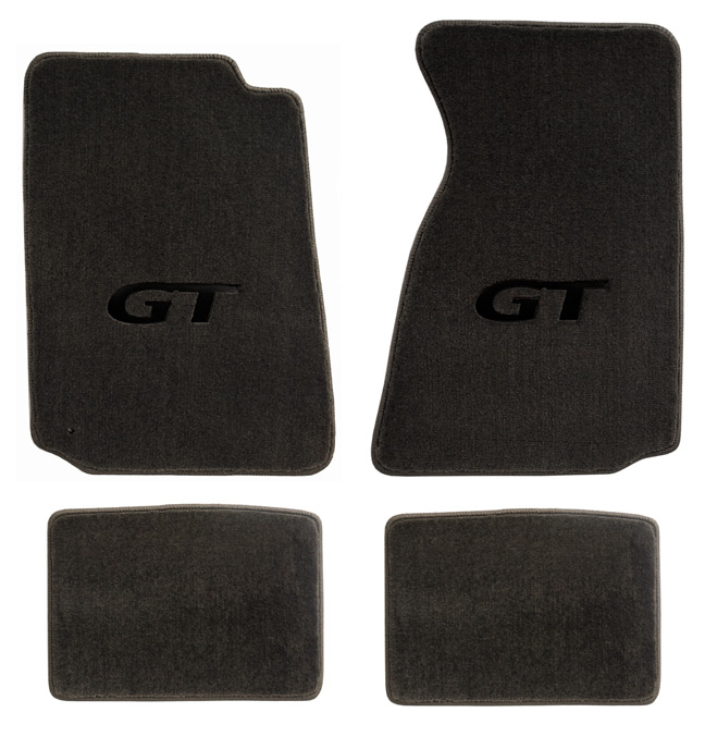 1994-1998 Mustang Convertible Floor Mats - Grey (5 Emblem Options)