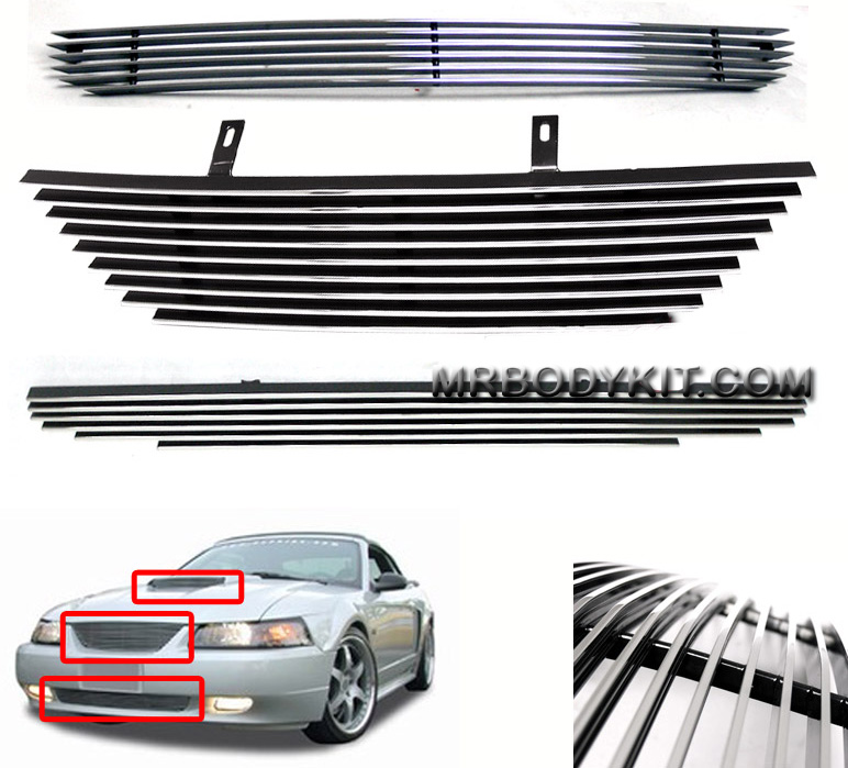 99-04 Mustang Upper & Lower & Hood Scoop Billet Grille COMBO