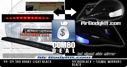 1999-2004 COMBO Mustang 3rd Brake Light & BLACK & LED Turn Signal Power Mirrors - Black Finish