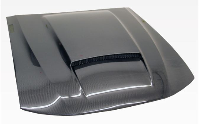99-04 Mustang STALKER X SINGLE SCOOP Ram Air Hood (Fiberglass) by VIS