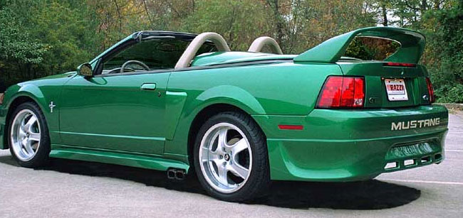 99-04 Mustang RAZZI SIDE EXHAUST R-21 ADD ON - Rear Bumper Add-on - (ABS AERO-FLEX)