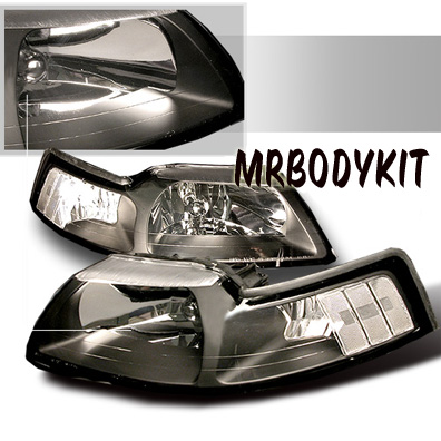 1999-2004 COMBO Mustang Headlights - BLACK - No amber (Pair) & Taillights Gen 10 - BLACK (Pair)