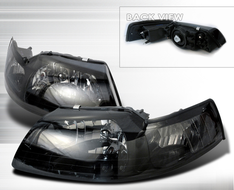 1999-2004 COMBO Mustang Headlights - SMOKED Lens - No amber (Pair) & Taillights Gen 11 - LED - SMOKED (Pair)